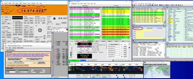 Transceiver was switched to the 14.074 MHz
